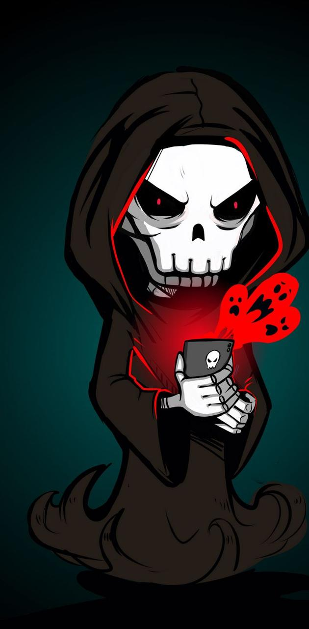 Skull using iphone