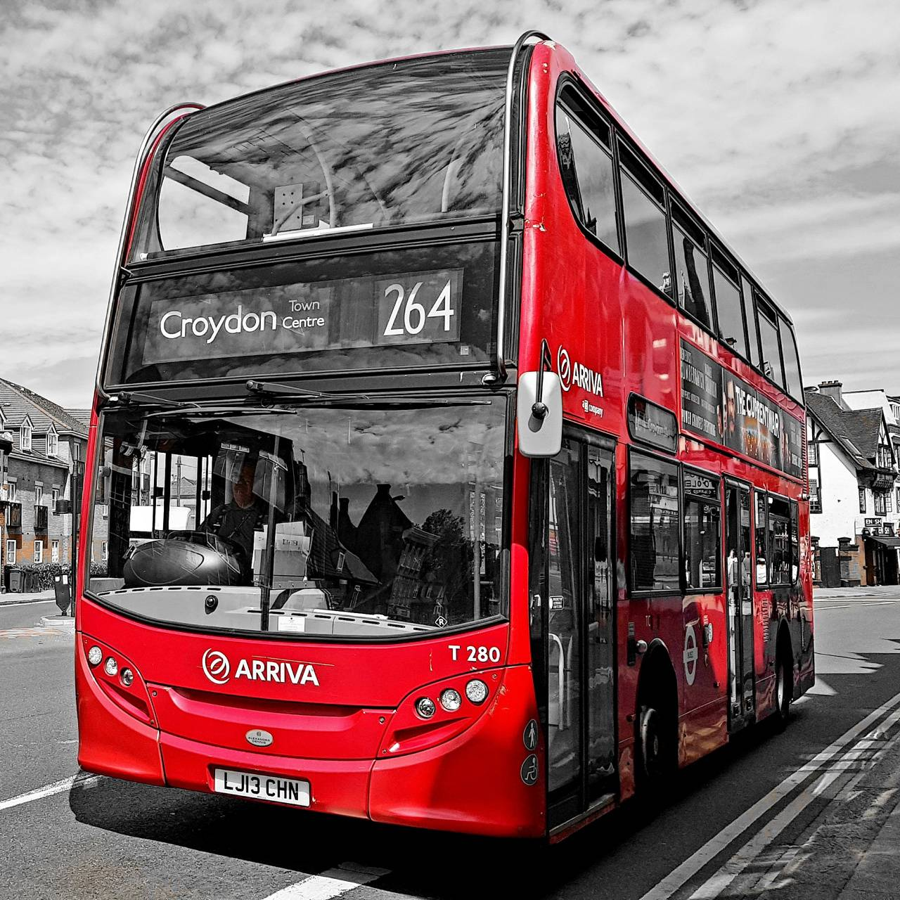 BW Red Bus