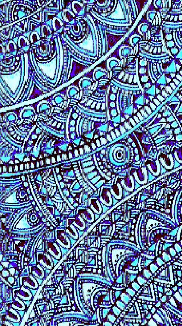 Aqua Zentangle wallpaper by girlKat
