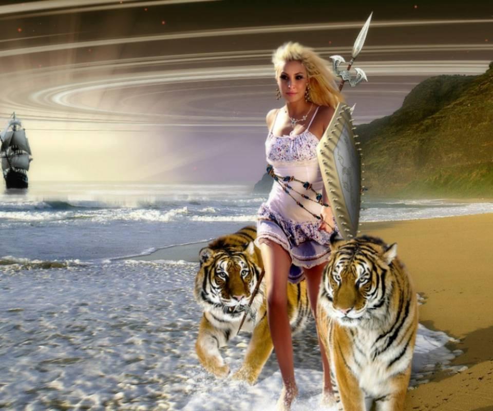 princess with tigers
