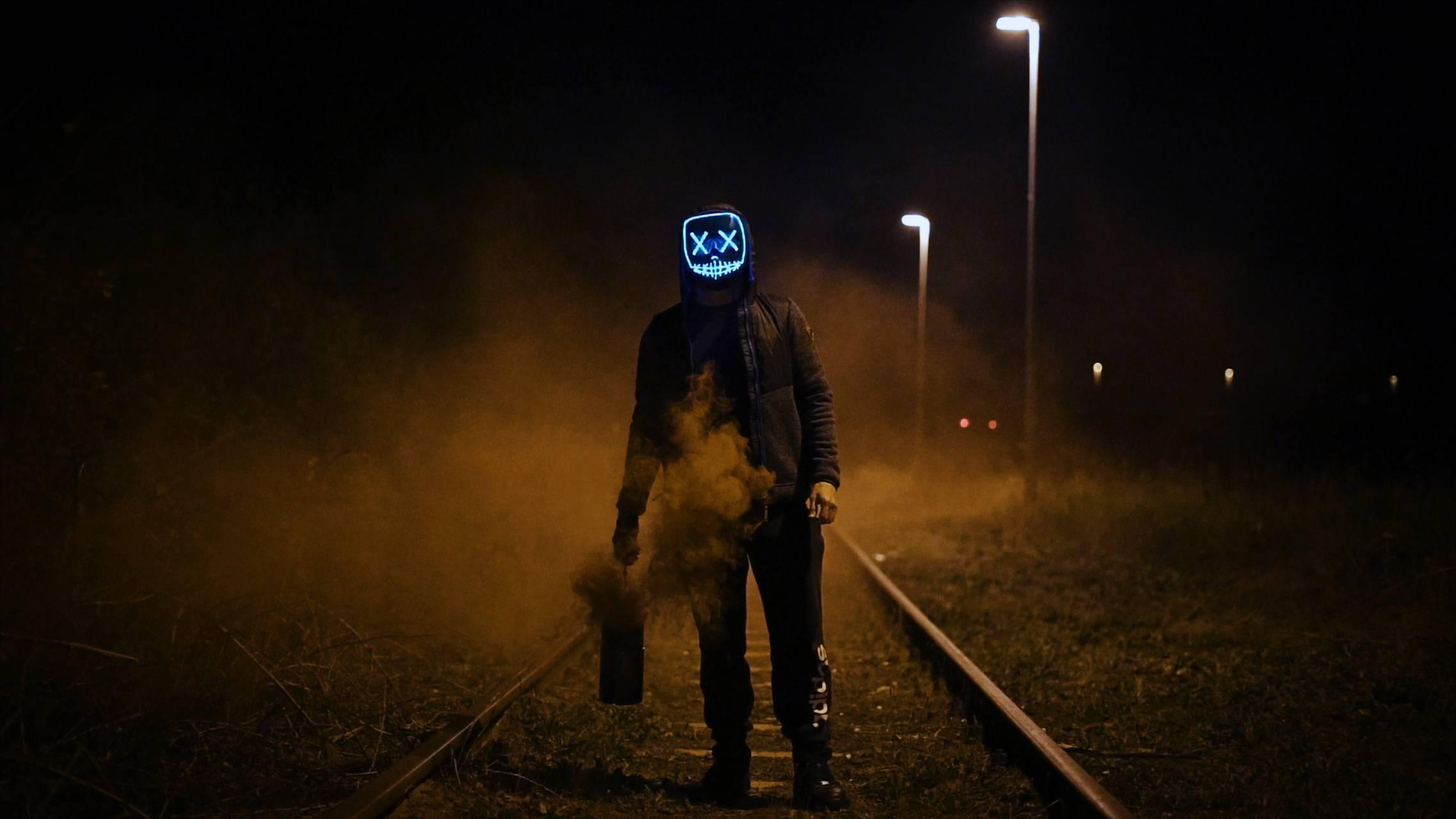 Scary masked man