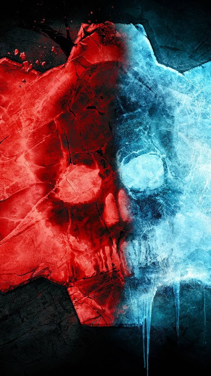 Red and Blue Skull