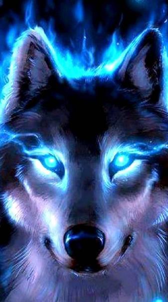 Neon blue wolf