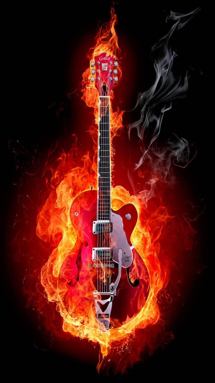 Огненная гитара гифка, сделать