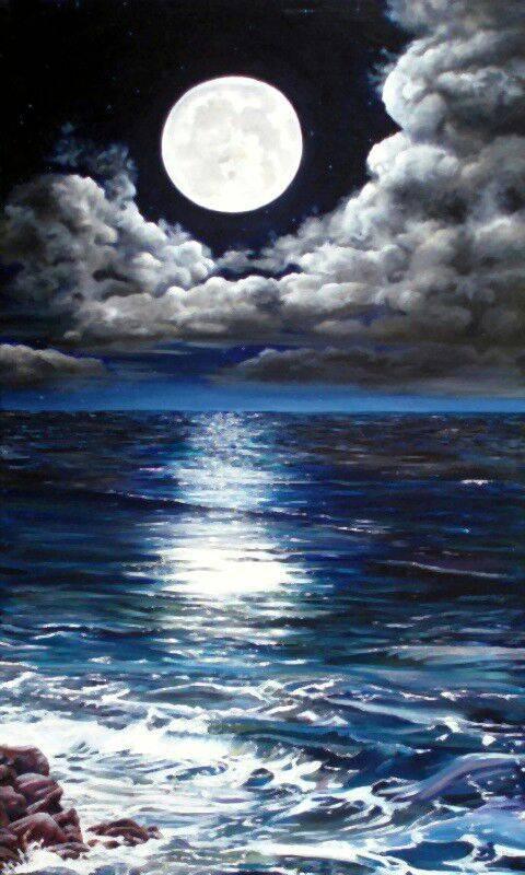 Full moon on beach
