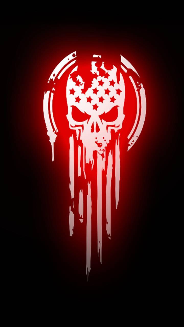 skull flag red