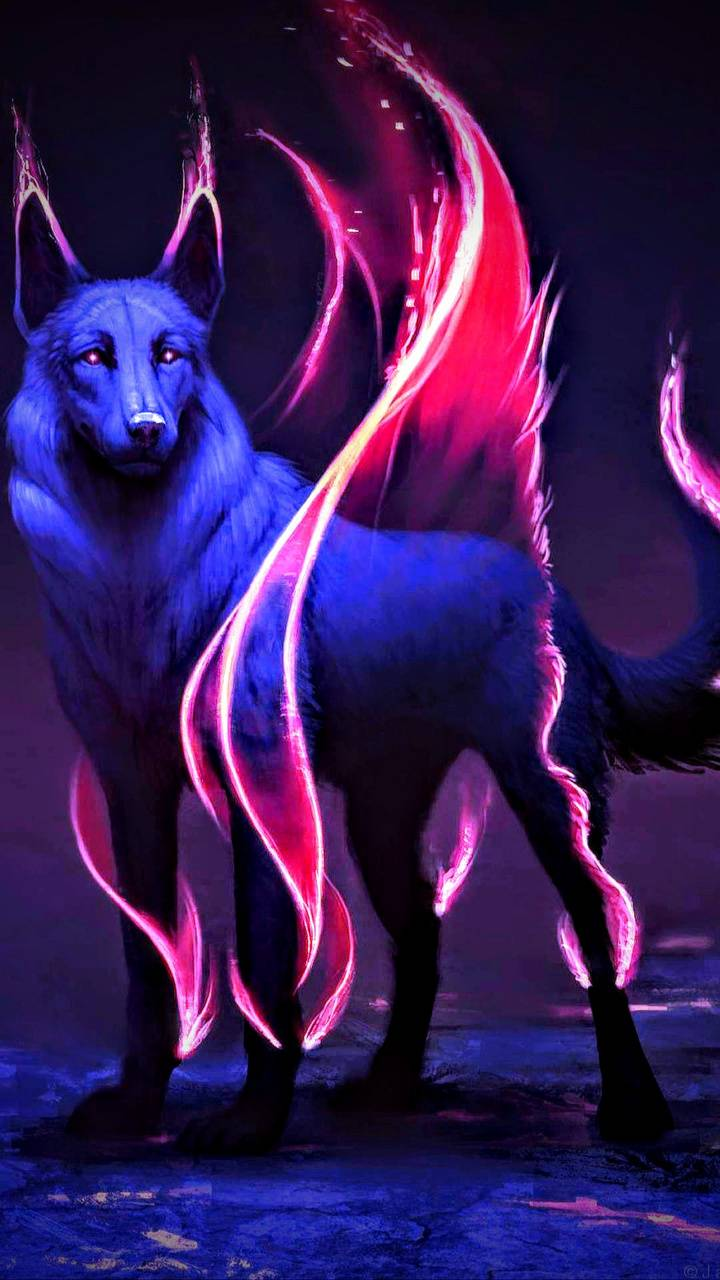 Flameing wolf