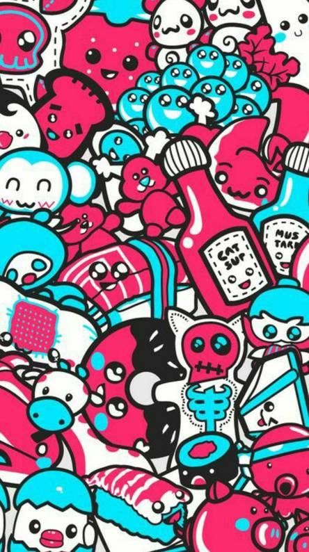 Blue Pink Doodle