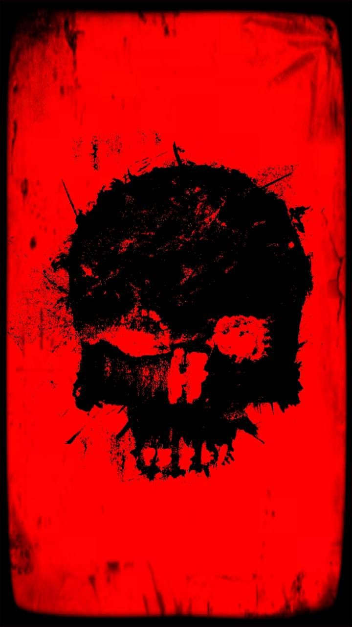 Red and black skull