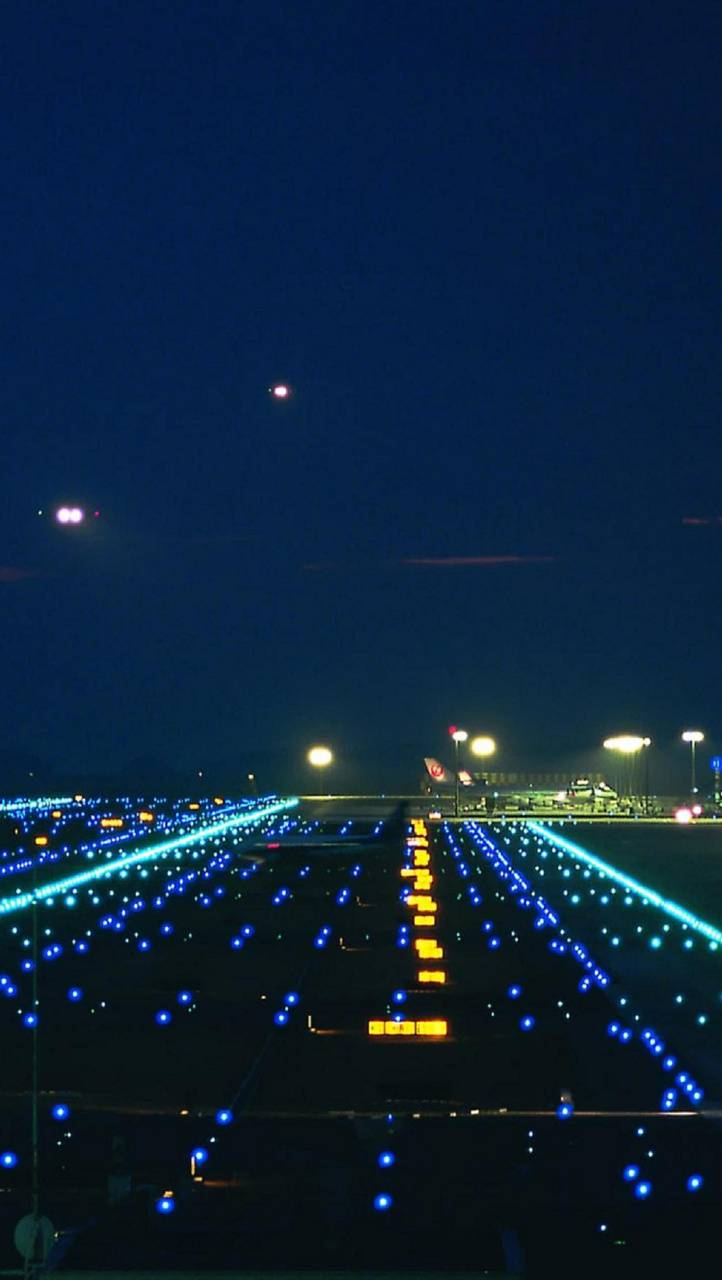 Runway city lights