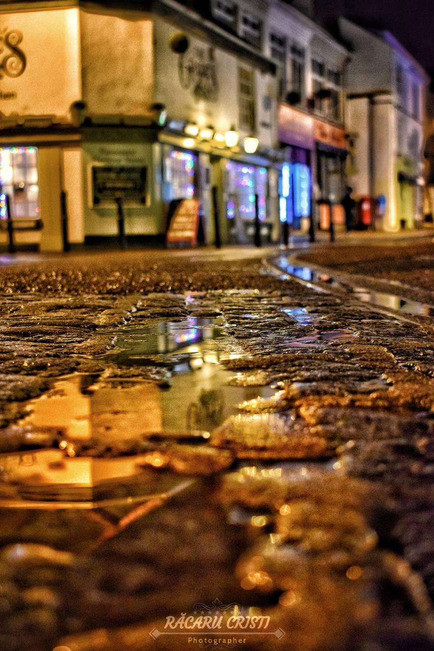 Street night rain
