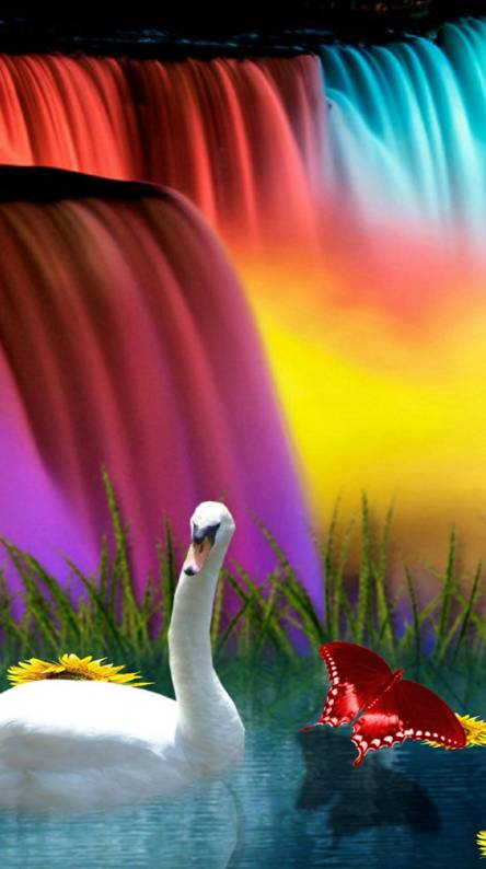 3d Rainbow Waterfall Wallpapers Free By Zedge