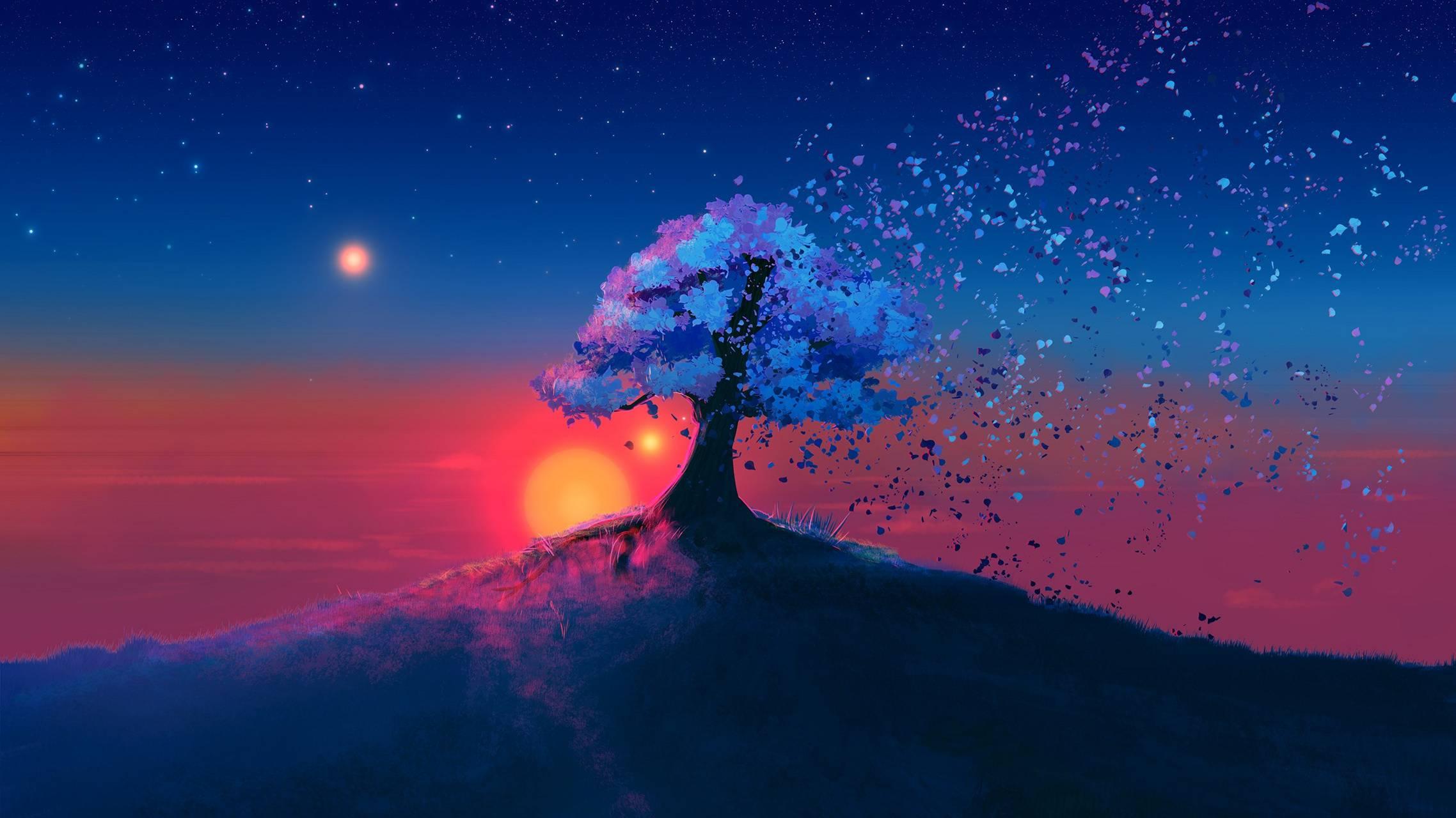 tree blue sun