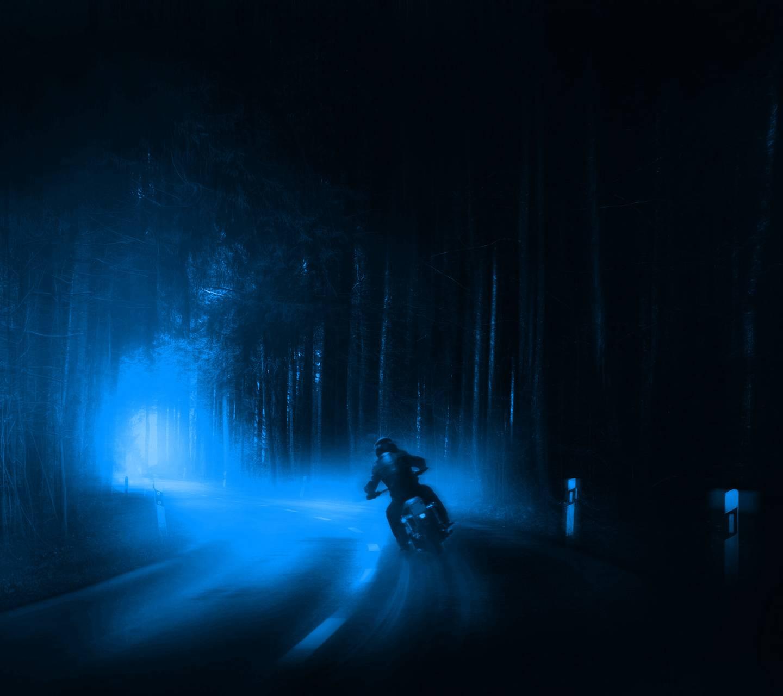 Blue bike on night
