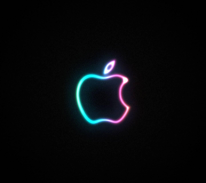 neon apple logo