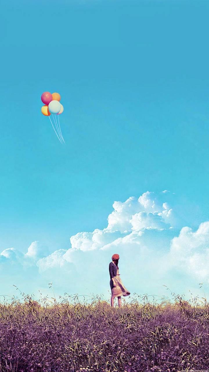 Baloon and  girl