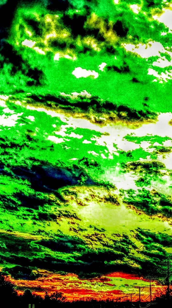 Toxic green sunset