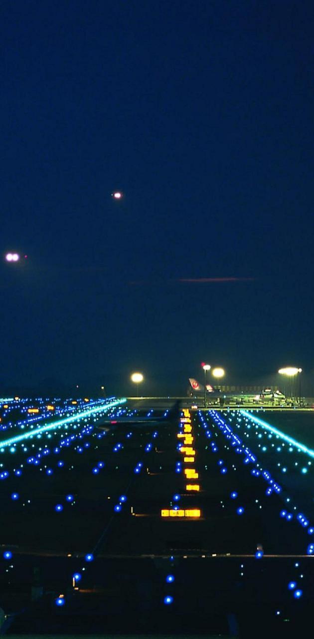 Runway city lights