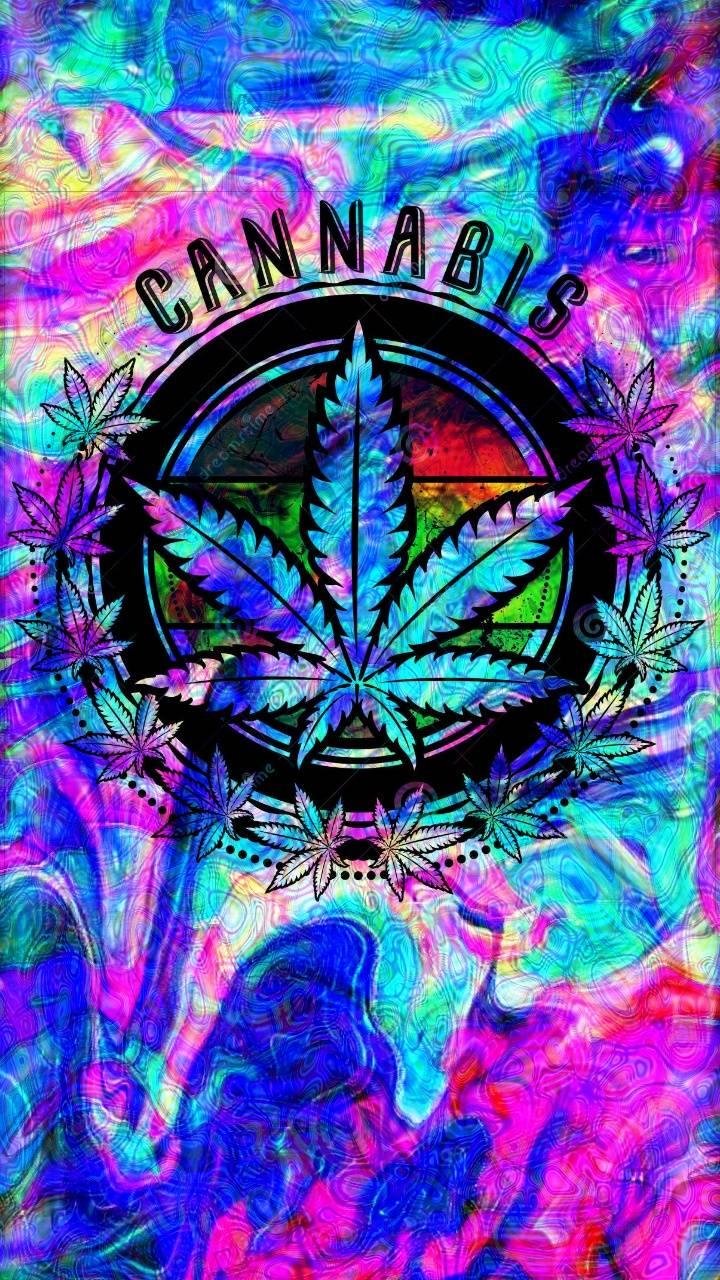 trippy cannabis leaf wallpaper by