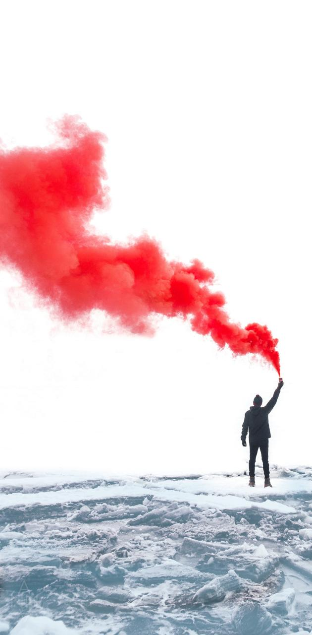 Red smoke flare