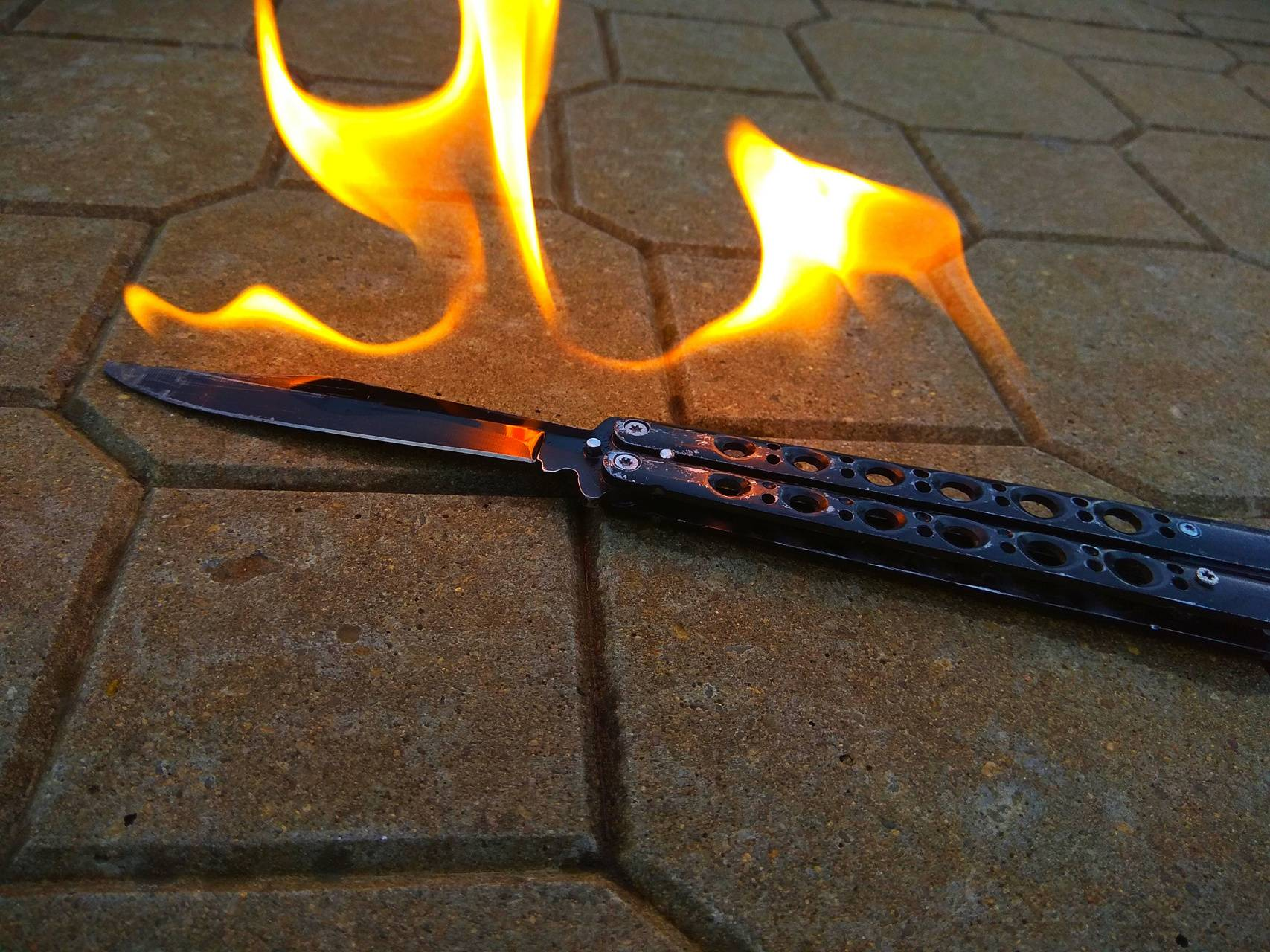 Knife in flames