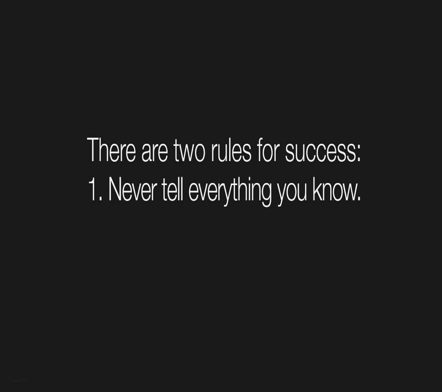 Two Rules of life