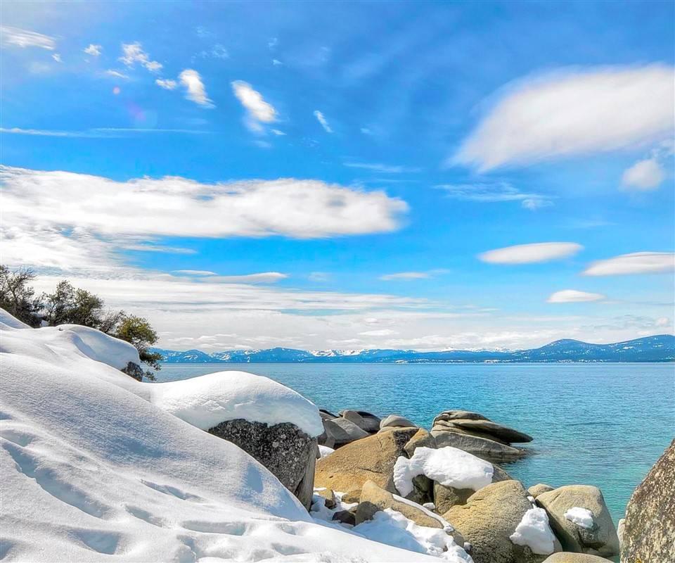 Snow on stones