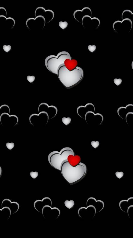 Silver red hearts