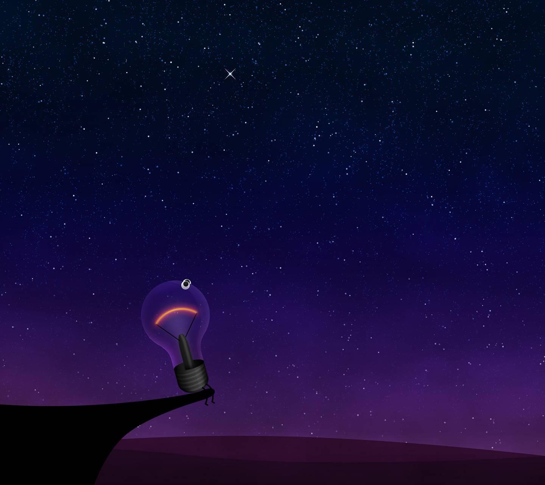 Light Bulb on cliff