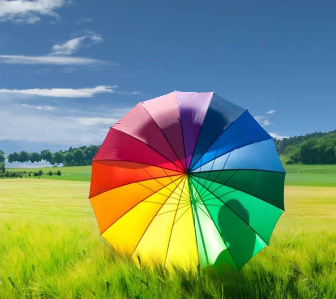 sombrilla arco iris