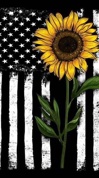 Sunflower and flag
