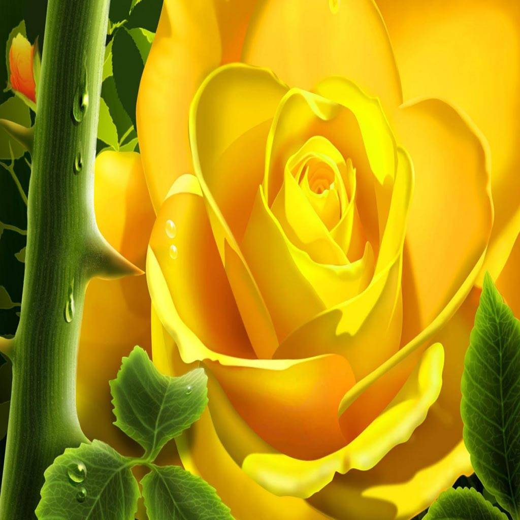 3D Yellow Rose