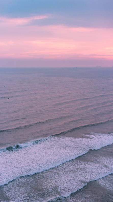 Pink ocean sunset