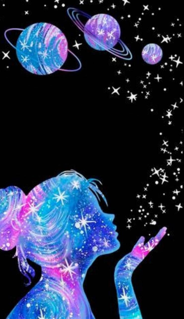 Night sky girl