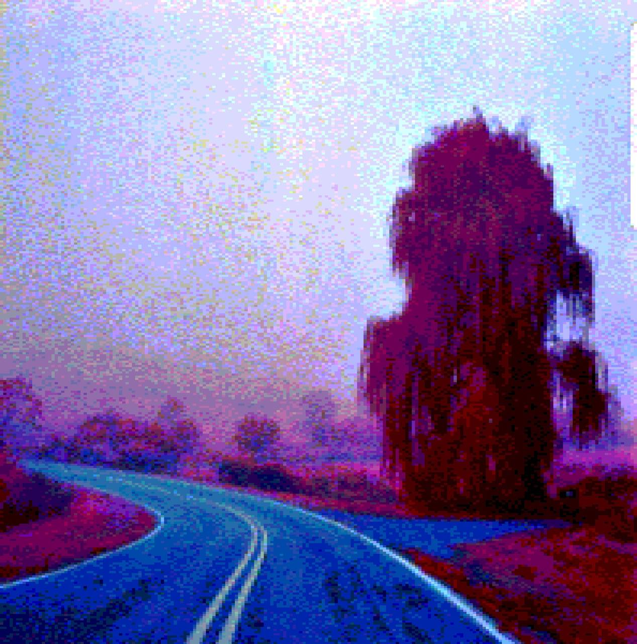 8bit foggy road