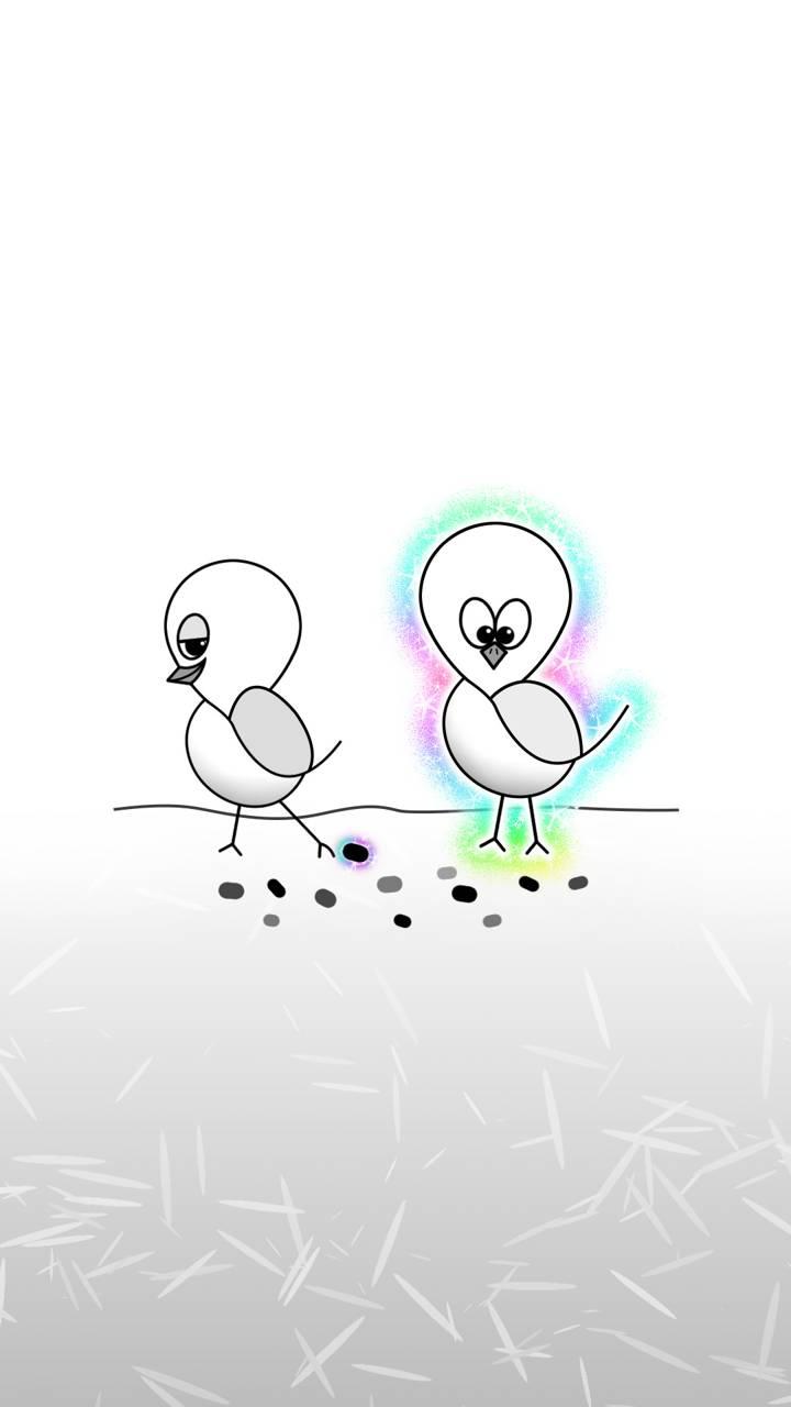 simple white - birds