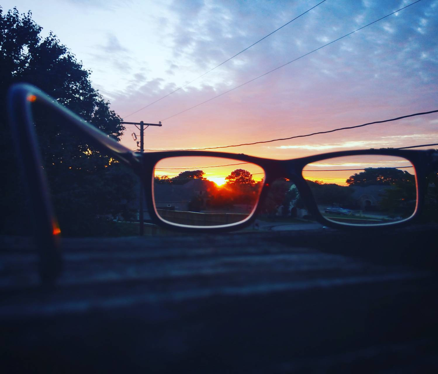 Sunset thru glasses