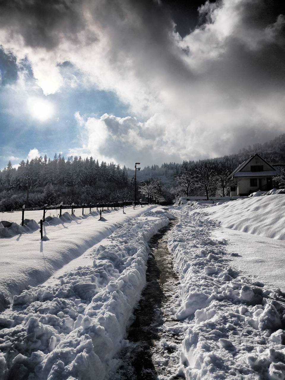 Snow path road