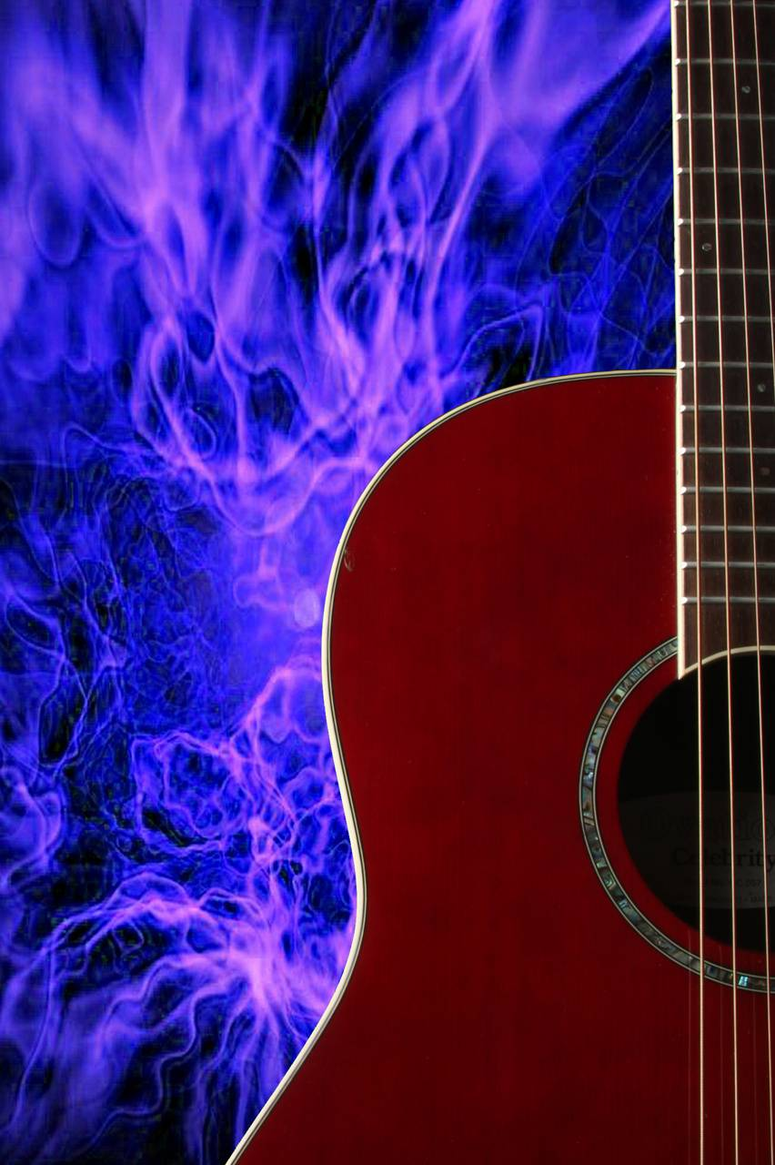 Flaming Guitar Blue