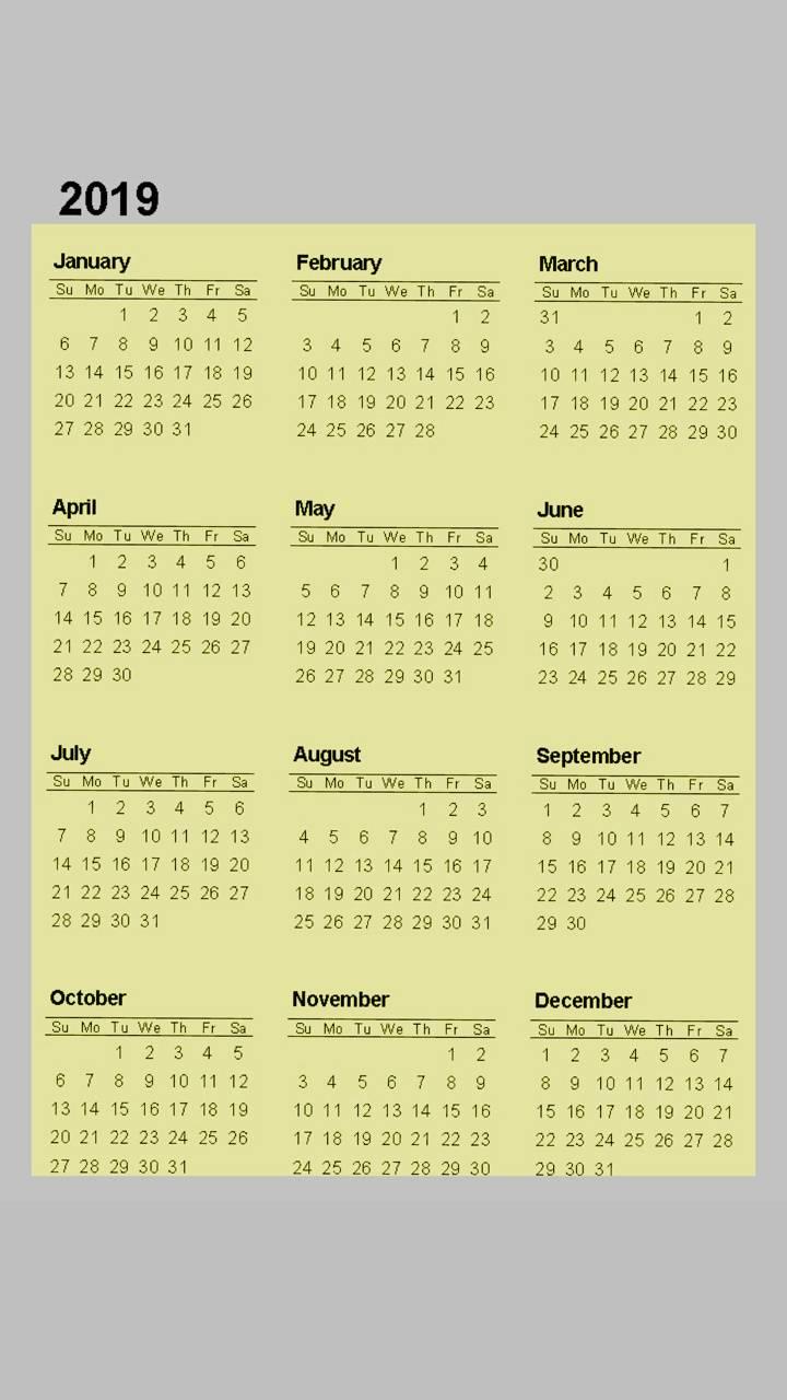 2019 Calendar v3
