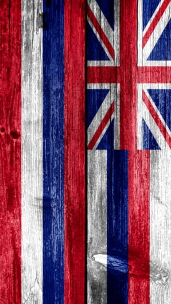 Wood Hawaii Flag