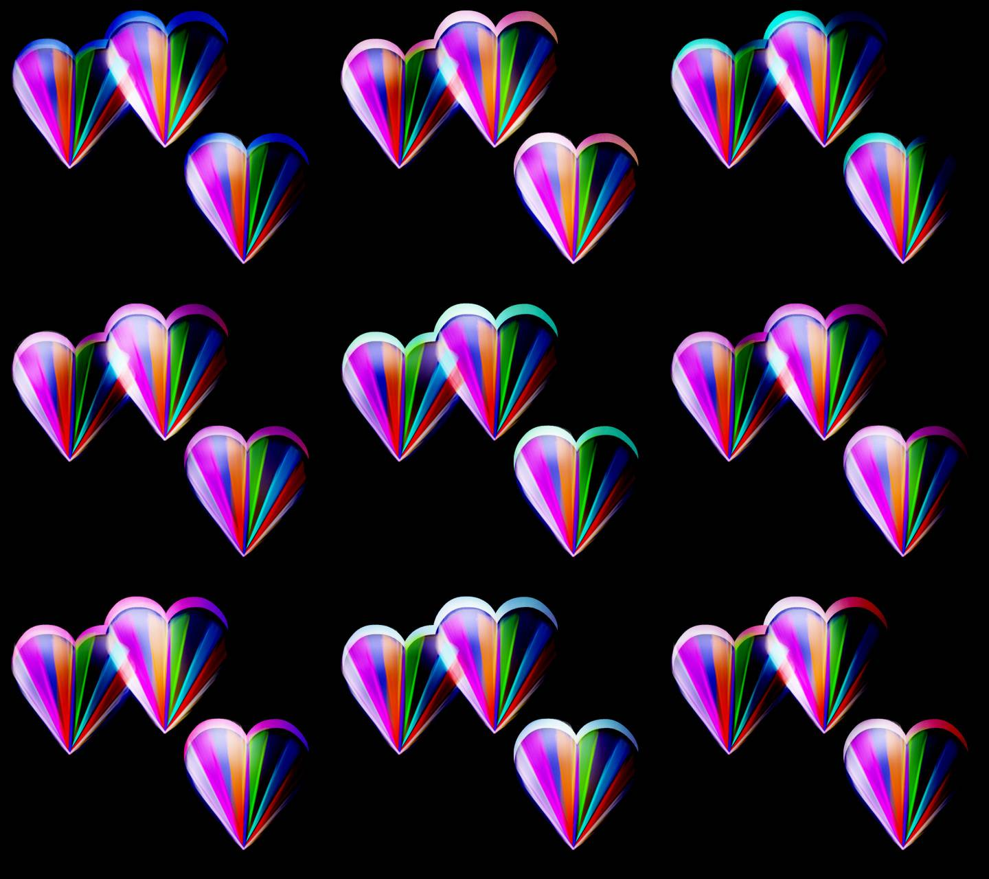 Hearts with color 3