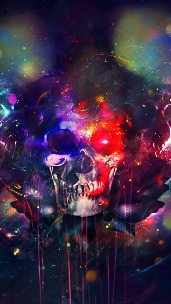 paint skull rainbow