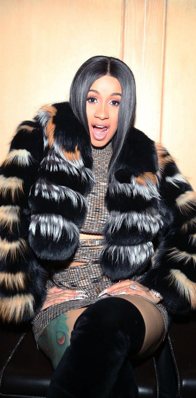 Cardi B Fur Coat
