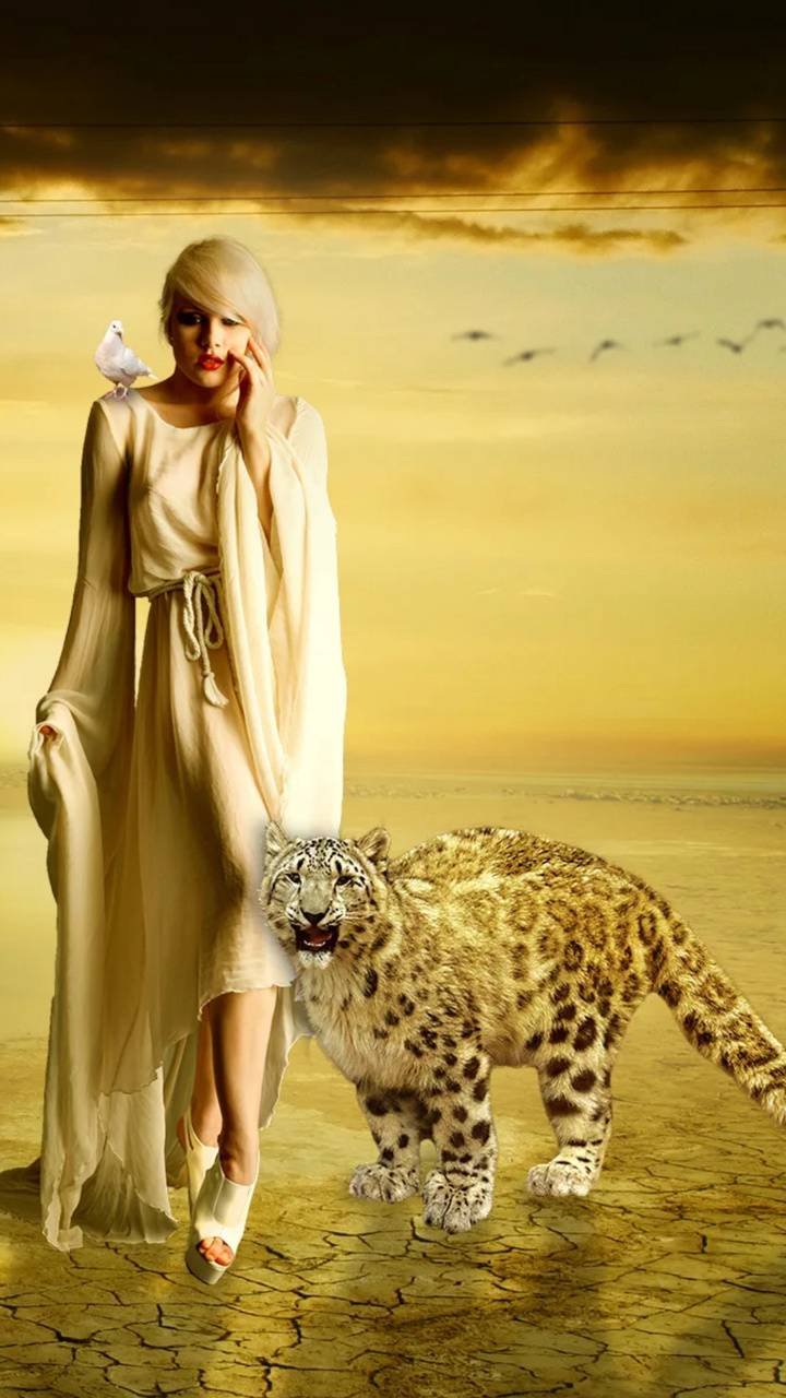 Girl and jaguar