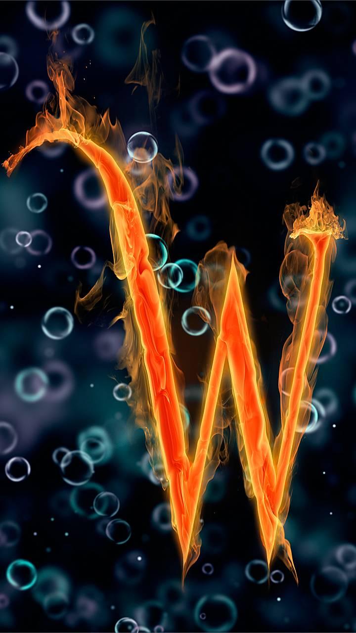 letter W under water