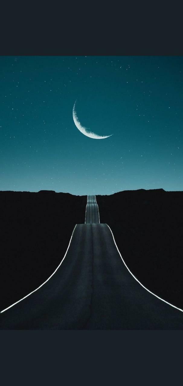 Road night moon