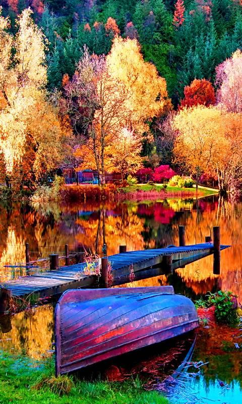 Boat At Autumn Lake