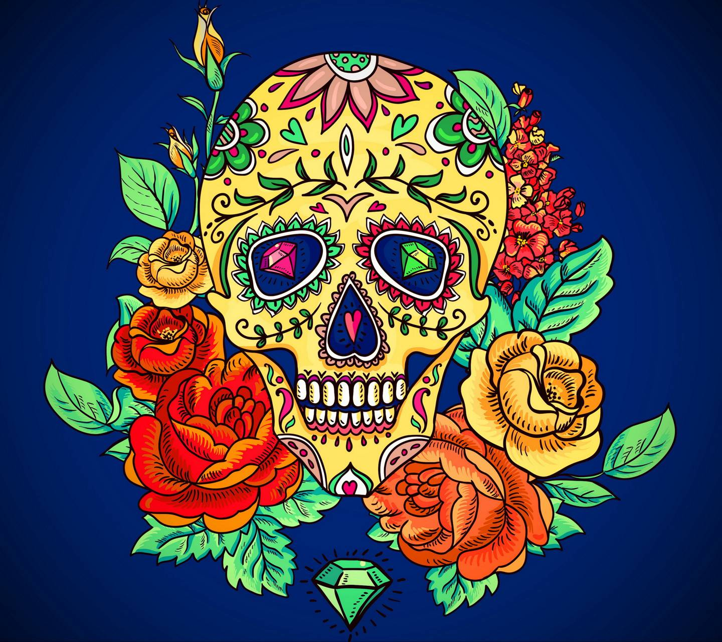 Floral Skull Wallpaper By F A1 Free On Zedge
