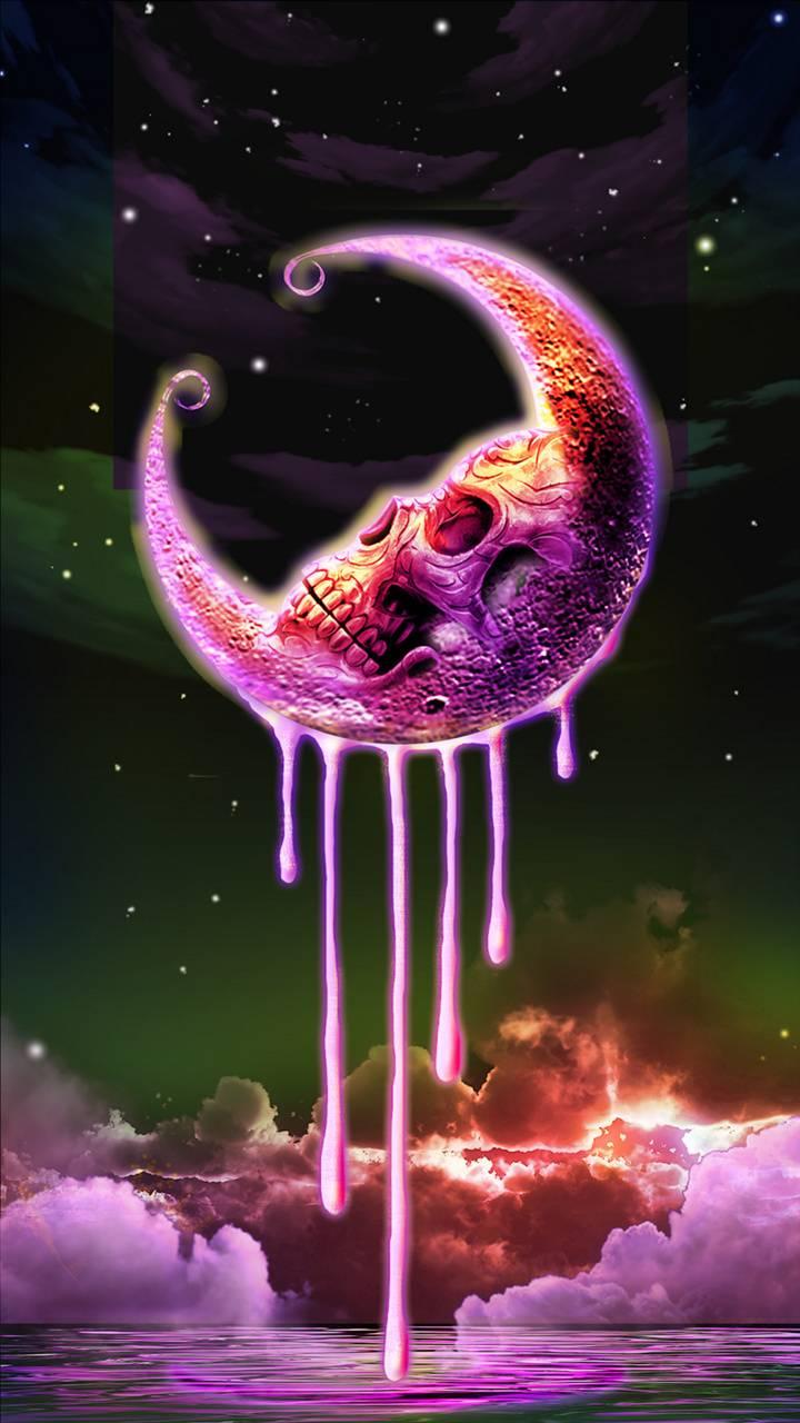Pink skull moon